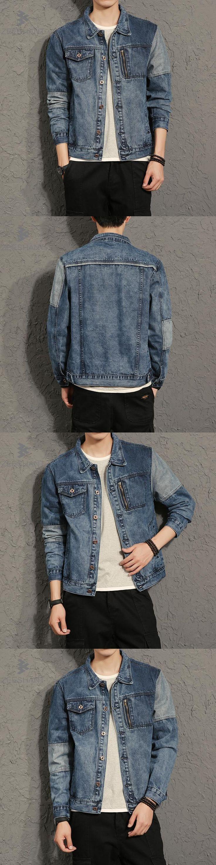 ZEESHANT Casual Slim Mens Denim Jacket Plus Size M-4XL 5XL Bomber Jacket Men Cowboy Men's Jean Jacket Chaqueta Hombre