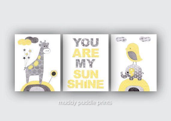 Yellow Grey Nursery decor, Nursery print, Nursery art, Yellow, Grey, Elephant, Giraffe, Birds - You are my sunshine in yellow and grey. $33.00, via Etsy.