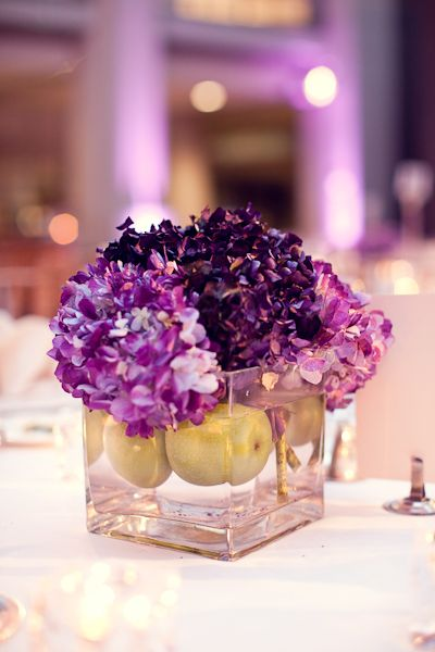 Purple White Modern Washington DC Wedding Reception Hydrangea Centerpiece 275x412 Christina + Brents Elegant Washington DC Wedding at the Ronald Reagan International Trade Center