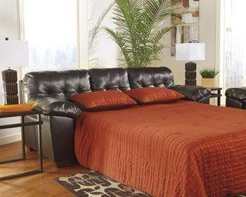 Sofa Pillows Brown Alliston DuraBlendA R Queen Sofa Sleeper by Ashley HomeStore Cotton Leather Polyester Polypurethane PVC