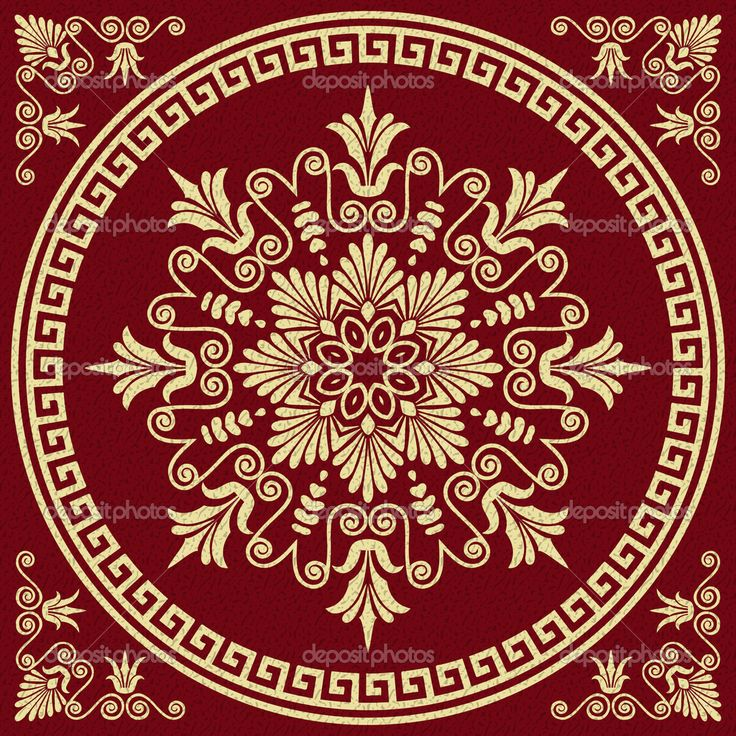 Set Traditional vintage golden square and round Greek ornament (Meander) and floral pattern on a red background — Vector by olgacov