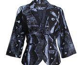 African Indigo Sky Batik Blazer, Hand-dyed Tie Die Jacket