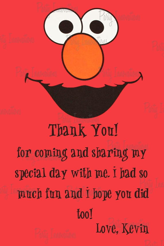 Printable Elmo Invitation plus free thank by