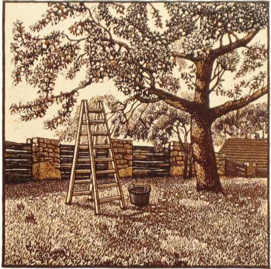 Milos Slama - Harvest (3-color linocut)