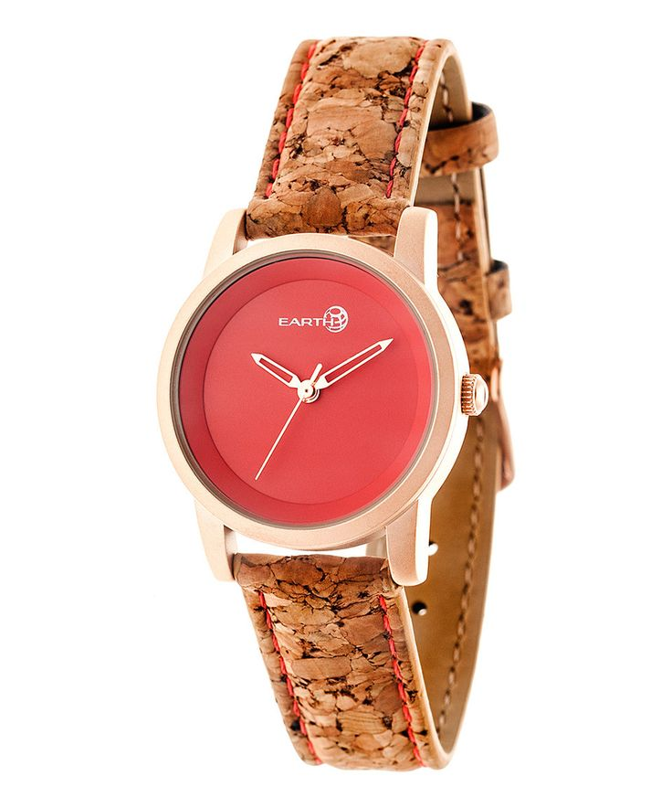 This Rose Gold & Red Canopie Cork-Strap Watch by EARTH wood watches is perfect! #zulilyfinds