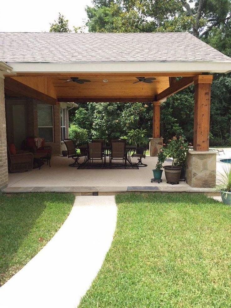 Backyard Paradise - Magnolia, TX, United States. Gable roof patio cover attached…
