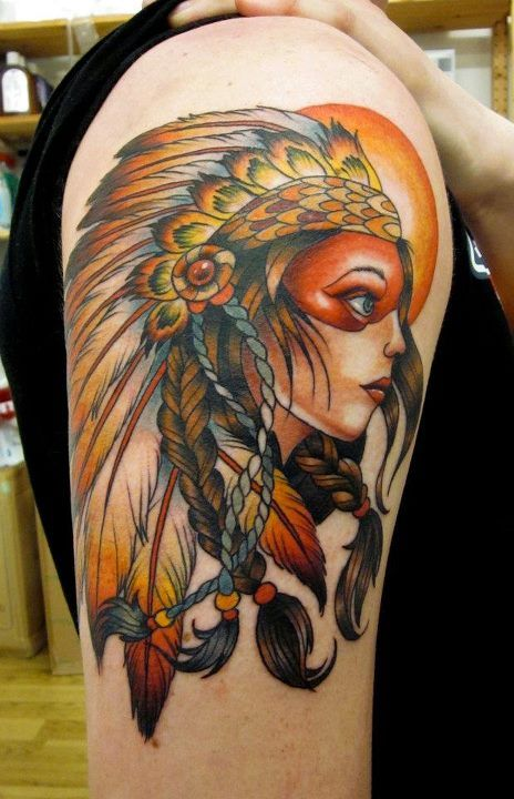 "WOW.  I find these ""Indian girl"" tattoos to be a silly concept, but the execution on this is phenomenal."
