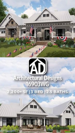 introducing architectural designs modern farmhouse house plan rh pinterest com