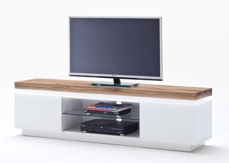 Lowboard Romina Mit LED Licht Dimmbar Weiss Matt Eiche Massiv 8200 Buy Now At