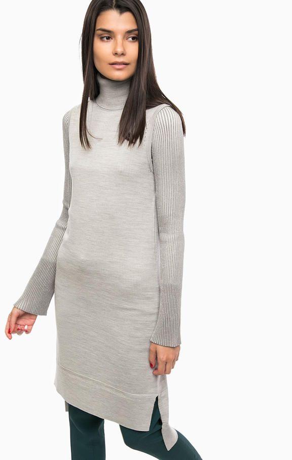 Серое шерстяное платье без рукавов PA73FA 0082C длина по переду для размера S (42) - 97 см, по спинке - 107 см, длина разрезов - 10 см, купить в интернет-магазине. Цена: 15490