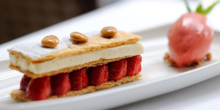 This easy strawberry mille-feuille recipe is a magnificent dessert. Stephen Crane's lovely dish is served with an English strawberry sorbet.
