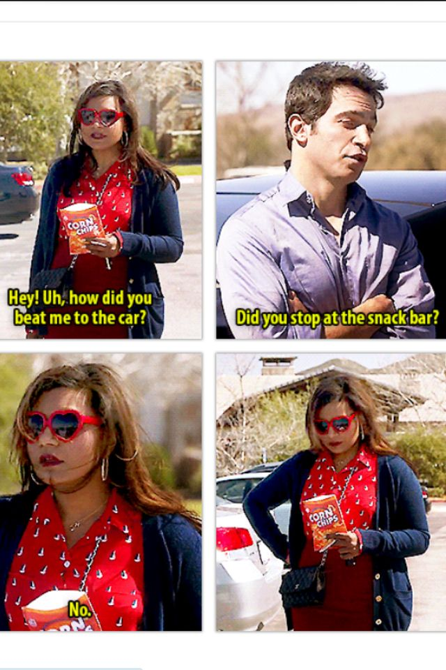 """Mindy & Danny """"Did you stop at the snack bar?"""" """"No..."""" Haha love The Mindy project!"""