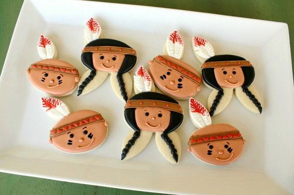 Little Indian Cookies - so creative! From a BUNNY cookie cutter! Now I need to find some cute Little Pilgrims. ;-)