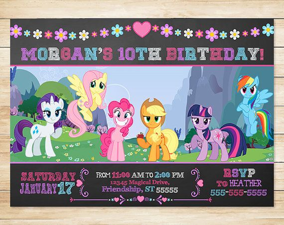 My Little Pony Invitation and Thank You Card Chalkboard - My Little Pony Birthday Party Invites