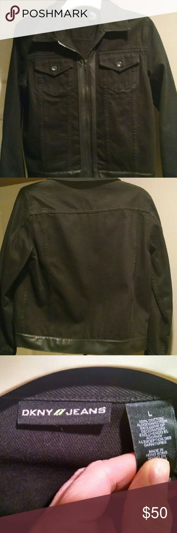 DKNY Black jean jacket w/leather trim Heavy black Jean jacket 100? cotton, excellent condition DKNY Jeans Jackets & Coats Jean Jackets