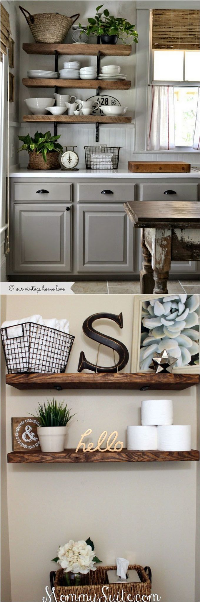 16 easy tutorials on building beautiful floating shelves and wall shelves for your home! Check out all the gorgeous brackets, supports, finishes and design inspirations!