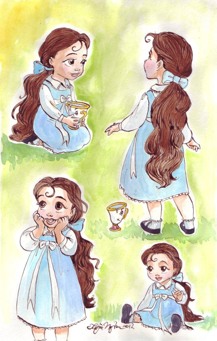 """Belle's one of my least favorite Princesses (I know, everyone loves her and stuff. I just don't, mmmkay?) But God in heaven, this is ADORABLE. I collect the Animator's Collection dolls, but I don't have Belle yet... judging by how precious the sketches are, she's now moved up to the top of my """"must buy"""" list. :P"""
