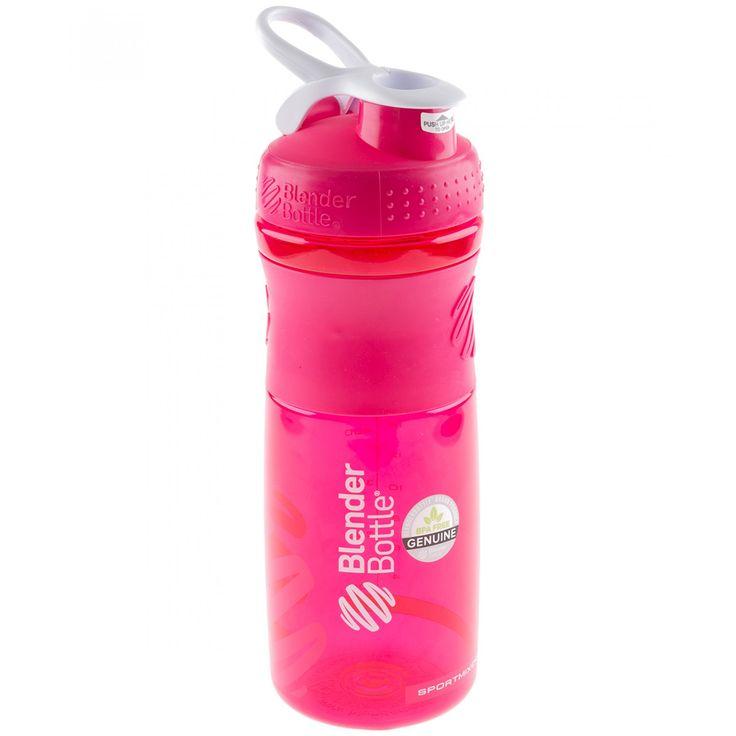 Termo Blender Bottle SportMixer color rosa de 28 oz; el termo Blender Bottle esta patentado en su interior trae una esfera metálica que sirve para agitar las bebidas (la esfera es de acero inoxidable) libre de BPA con medidas en onzas y mililitros cue