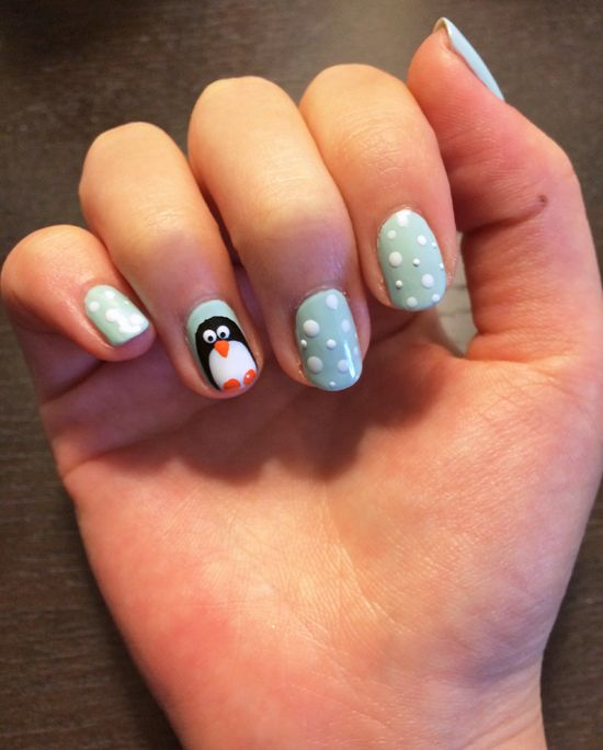 Penguin Nail Art Tutorial | POPSUGAR Beauty.... Because who doesn't need penguin nails for the winter?