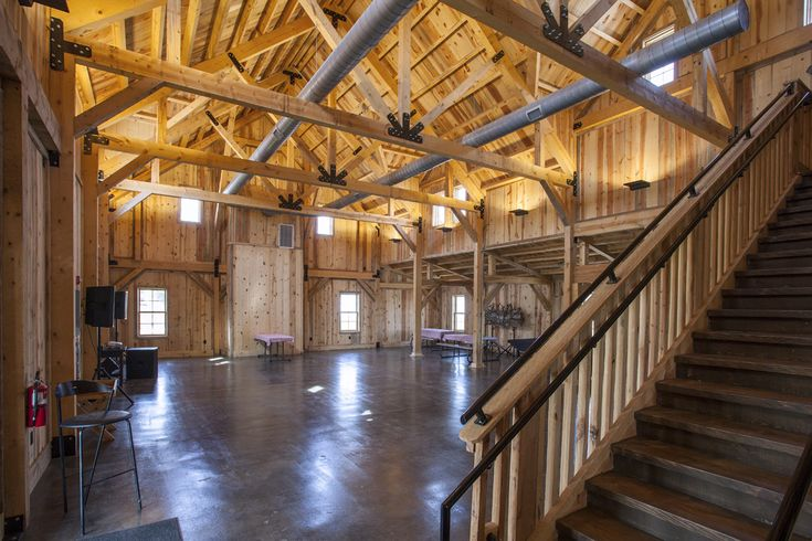 Barn Interior with tons of space for kids activities at camp | Sand Creek Post Beam https://www.facebook.com/SandCreekPostandBeam