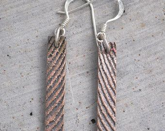Shibuichi bronze dangly earrings with sterling silver findings