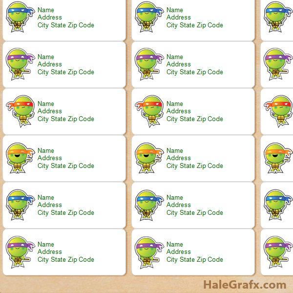40 best ninja turtles images on pinterest teenage mutant ninja free printable tmnt ninja turtle address labels filmwisefo Image collections