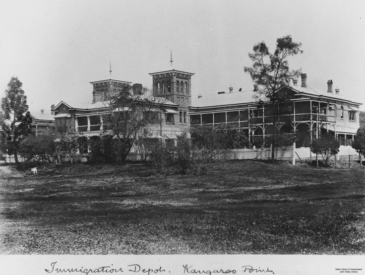 Yungaba, Queensland's Immigration Hostel, at Kangaroo Point, 1907 - Built in 1887 by the Queensland Government for migrants who came to Queensland. Yungaba was also co-opted for other duties at various times - it housed the workers for the Story Bridge project, it has acted as an employment agency during times of economic hardship and it was converted to a military hospital during both world wars. Yungaba ceased to operate as a migrant hostel in 1993.