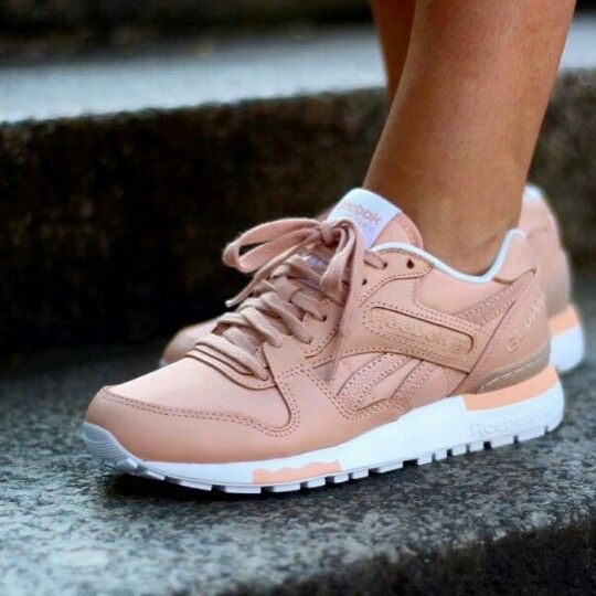 Reebok Pastel Pink Leather Sneakers   Bang on trend with the dusky pink that is just everywhere this season.