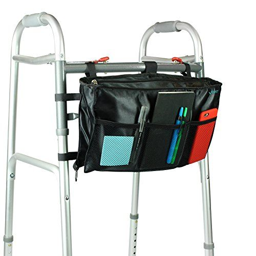 Walker Bag by Vive  Accessory Tote Caddy Provides Hands Free Storage  Walker Attachment Fits Most Wide and Narrow Styles  Elderly Senior  Disabled Black >>> Check out the image by visiting the link. Note: It's an affiliate link to Amazon