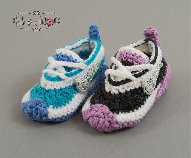 Cute-as-a-button Crochet Sneakers pattern by Cute as a button Jennifer Reid
