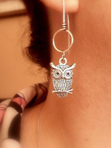 Handmade Silver Owl Earrings