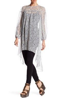 Back Zip Long Sleeve Printed Silk Tunic