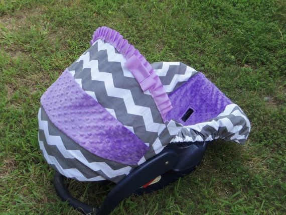 Grey Chevron Stripe lilac purple lavender minky baby car seat cover infant seat cover slip cover Graco fit or evenflo on Etsy, $53.00
