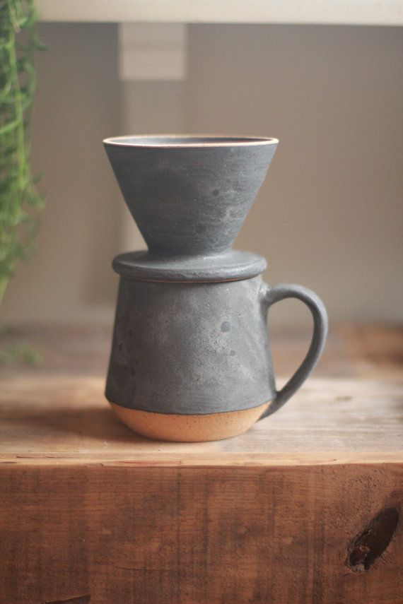 pour over coffee set, wheel thrown pottery mugs, minimalist, stoneware mugs, coffee mug, pottery mug, speckled