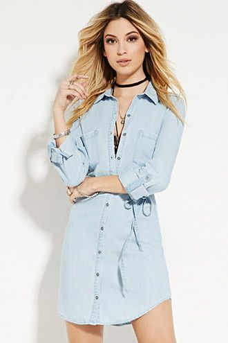 Belted Chambray Shirt Dress | Forever 21 - 2000174846