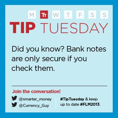 """""""Bank notes are only secure if you check them.""""  -  Bank of Canada"""