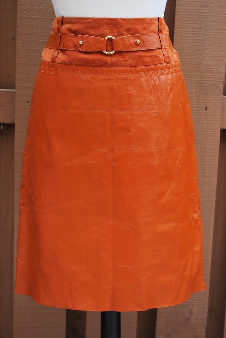 vintage belted burnt orange leather skirt mine