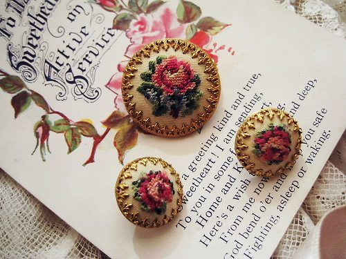 Petit point brooch and earrings