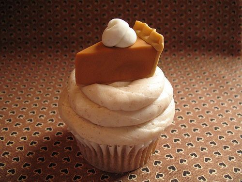 Put these adorable cupcake toppers on top of a Pumpkin Spice White Almond Sour Cream cupcake with Decorator's Cream Cheese Frosting    How to make tiny pumpkin pie slices for use on sugar cookes, cupcake toppers, cake decoration etc. You can use gumpaste, fondant or marzipan.