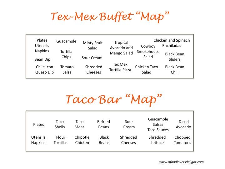 A favorite party food theme at my house is the Tex Mex Buffet. It's a pretty simple buffet depending on your selections. I like to offer a few appetizers, a couple of composed salads, and a f…