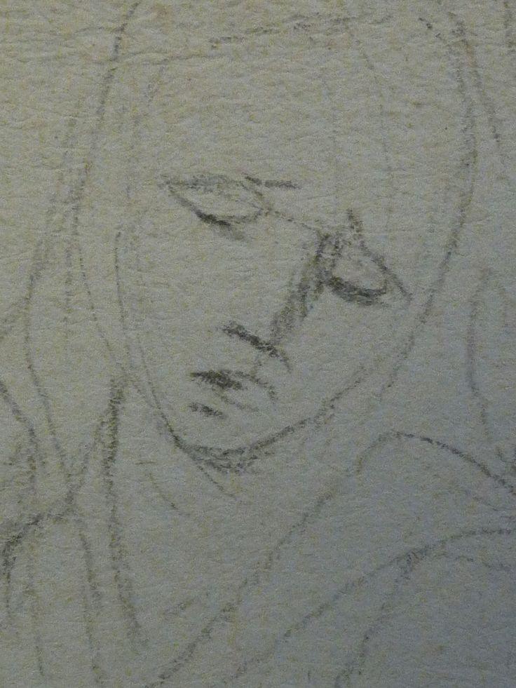 AVELLINO Anofrio - Le Christ mort soutenu par la Vierge et un Ange - drawing - Détail 07 - Vierge de douleur, tête - Virgin's head in pain -