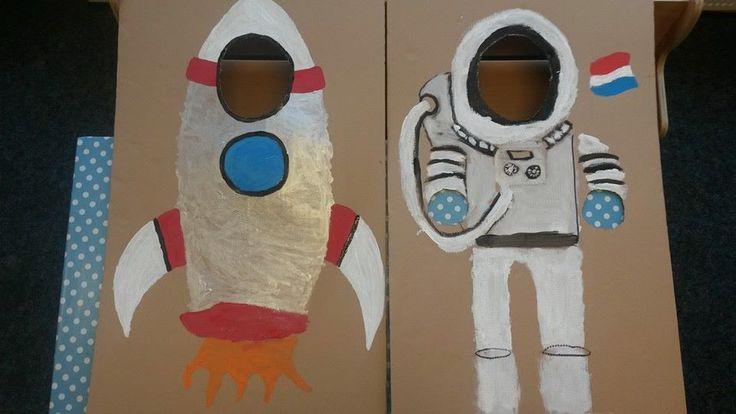 Thema Ruimte en Sterren: maak op groot karton met verf je eigen astronauten pak en raket om mee te spelen.