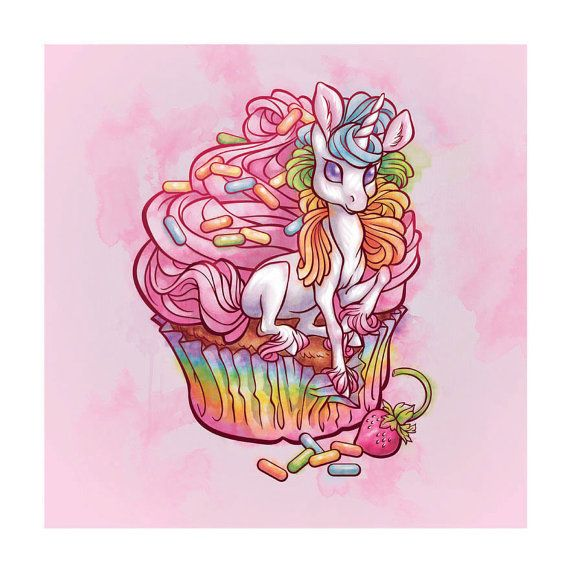 Uni in my cupcake 13X13 Sweet-tastic unicorn art print Its a beautiful sunny day at the Cupcakery bakery, Where two friends sit enjoying their 3:00 pick-me-up.  Will you lookit that! What? Theres a Unicorn in my cupcake! No way, Let me see!  ...  Oh wow, you werent kidding. Maybe itll grant you a wish or something... Ask it! OR... Maybe its the best damn cupcake Ill ever eat!!!   *NOM* OH M GEE!  Uni in my cupcake Is printed on bright white velvety matte photo paper. The image is 11X11 with…