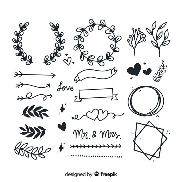 Hand Drawn Wedding Ornaments Set Free Vector Bullet Journal Ideas Pages Hand Drawn Wedding Hand Lettering