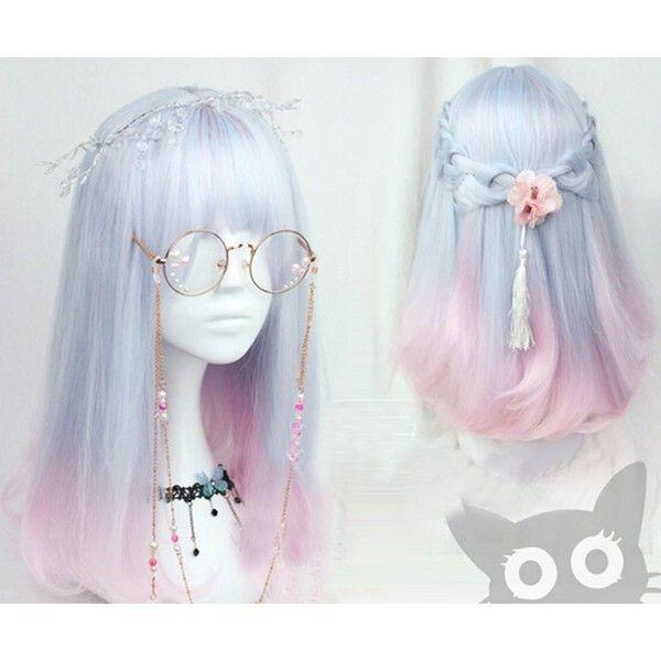 Women Girls Medium Size Harajuku Light Blue Mixed Pink Sweet Lolita... ($23) ❤ liked on Polyvore featuring hair