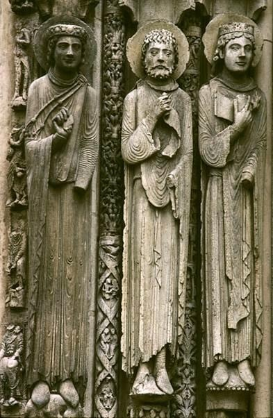 Jamb sculptures from west façade of Chartres Cathedral ...