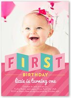 Best St Birthday Invites Images On Pinterest Cards - First birthday girl invitation cards