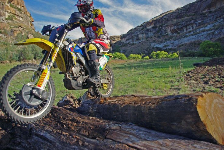 Over the logs at the Festival of Dirt in #Clarens.  Image by Detmar Ruhfus of Clarens Xtreme. http://www.n3gateway.com/things-to-do/motor-biking.htm