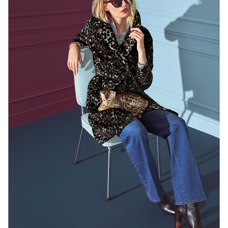 Пальто с леопардовым принтом, 35% шерсти набивной рисунок Atelier R | купить в интернет-магазине La Redoute