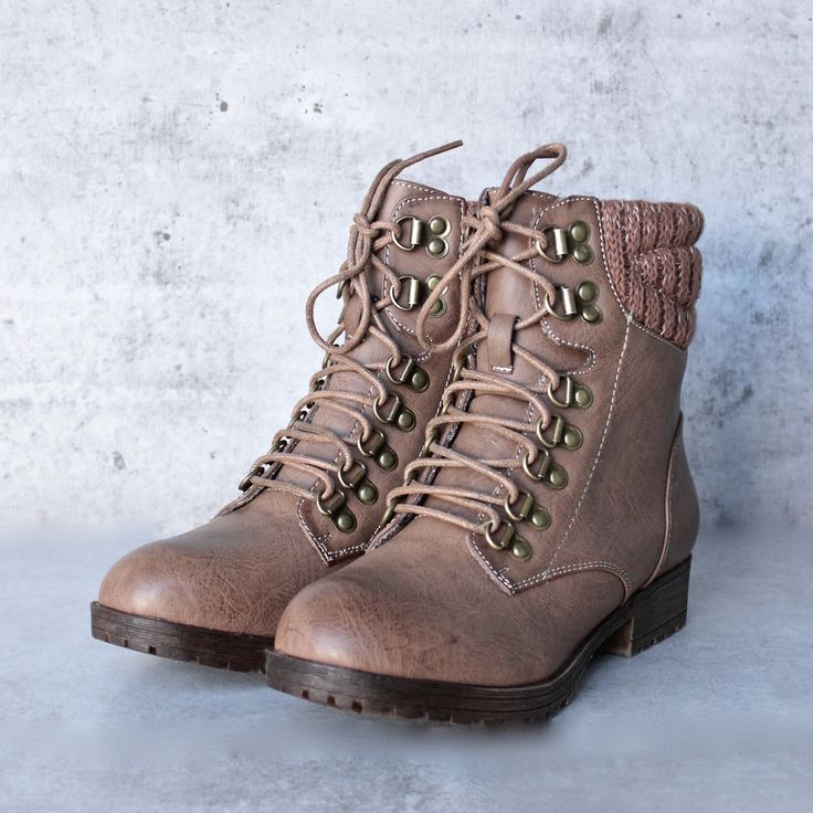 """- Color: Taupe - Plaid lining - Man-made material - Heel Height: 1"""" - Boot Height: 6"""""""
